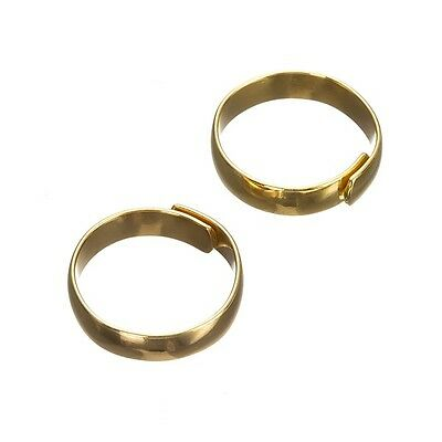 Adjustable Ring Bases Gold Plated - Flat 5mm Wide Pack of 2 (G96/4)