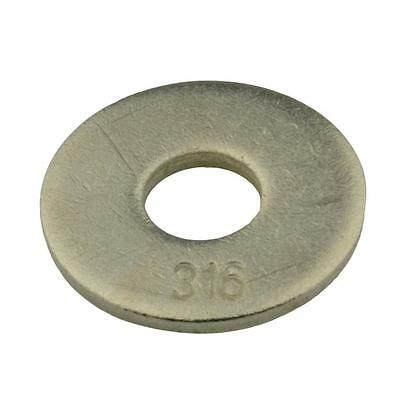 Qty 20 Mudguard Washer M10 (10mm) x 30mm x 2.5mm Marine Stainless 316 A4 Penny