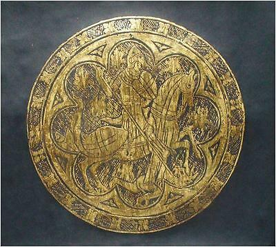 MYTHICAL DRAGONS ST. GEORGE COAT OF ARMS, English hand crafted Brass Rubbing