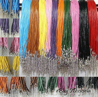 20Pcs/100Pcs Real Leather 2.0mm DIY Cord Necklace with Lobster Clasp Charms 46cm
