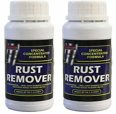 2x Concentrated Non Harmful Bike Bicycle Car Metal Rust Remover 250ml makes 2.5L