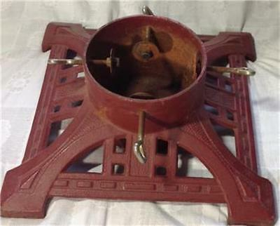 "Vintage Cast Iron Christmas Tree Holder Red, 14"" square"
