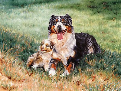 """AUSTRALIAN SHEPHERD DOG ART LIMITED EDITION PRINT - """"Mother and Puppy"""""""