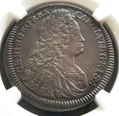 1734 Silver Austria 1/4 Thaler Karl (Charles) Vi Coin Ngc About Uncirculated 58