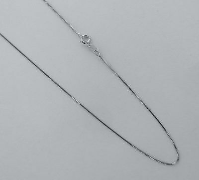Real 14k White Gold Thin Box Chain.16,18,20,22,24 Inch 0.8mm Solid Gold Necklace