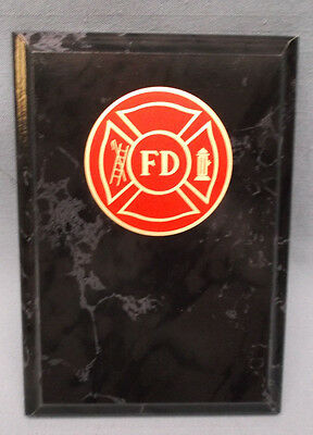 FIRE DEPARTMENT trophy 5 x 7 black finish plaque