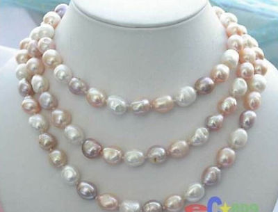 """NEW long 42 """"8-9mm baroque multicolor freshwater pearl necklace"""