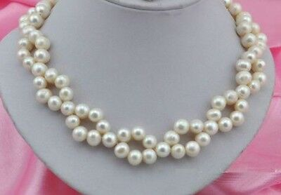 "18"" 8-9mm Akoya SOUTH SEA White Pearl Necklace 14k Gold Clasp"