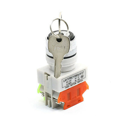 660V 10A NO NC 4 Pin Key Selector Locking 2 Position Push Button Switch