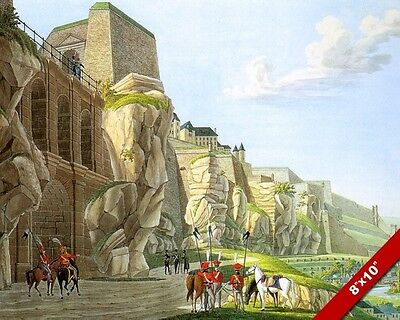 CHARGING KNIGHT OF THE CROSS CRUSADE FORTRESS PAINTING ART REAL CANVAS PRINT