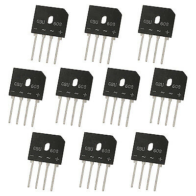 10 x GBU608 Glass Passivated Bridge Rectifier Single Phase 6A 800V MJ