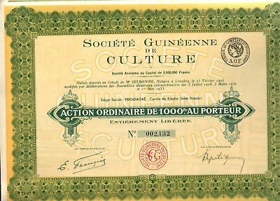 GOLDEN YELLO 1933 FRENCH COLONIAL GUINEA (AFRICA) BOND w COUPONS! RETAIL VAL $50