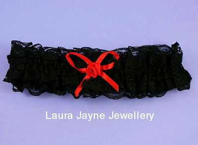 Beautiful  Black  lace with Red Satin  Bow  bridal garter