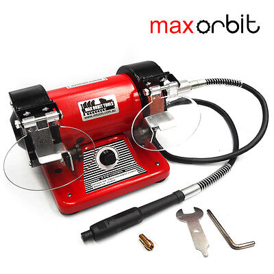 "Flexible Shaft Bench Grinder 3"" 75mm Double Wheel Grinding Mini Jewelry Polisher"