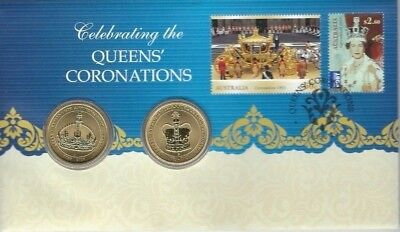 2013 $1 Celebrating The Queens Coronations Stamp & Coin Pnc
