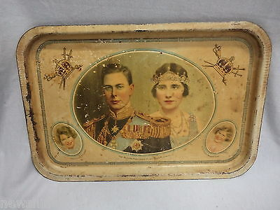 #nn. George Vi,  Elizabeth  & Two Children Willow  Metal Tray