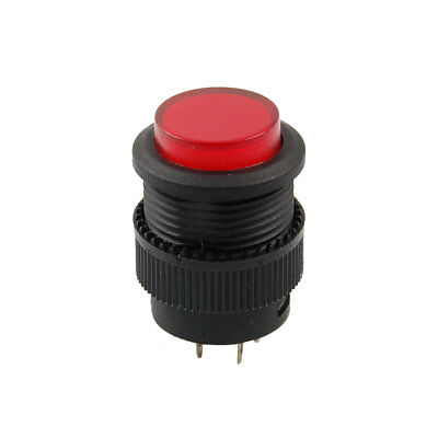 DC 3V Red LED Light Illuminated OFF-(ON) NO Round Momentary Push Button Switch