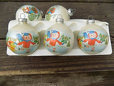 5 Vintage 1973 Raggedy Ann & Andy Glass Ornaments - Bobbs Merrill Co., Inc