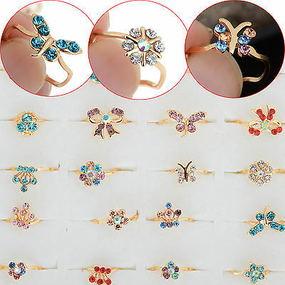 Wholesale 10pc Bulk Gold Plated Cute Kids/Children Party Crystal Fashion Rings N