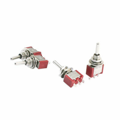 ON-OFF-ON SPDT Momentary Rocker Type Mini Toggle Switch AC 250V 2A Red 4pcs