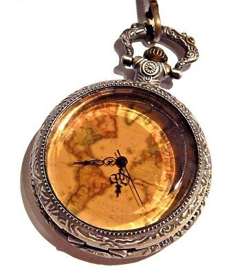 STEAMPUNK POCKET WATCH bronze topaz glass old world map chain brass VICTORIAN G2