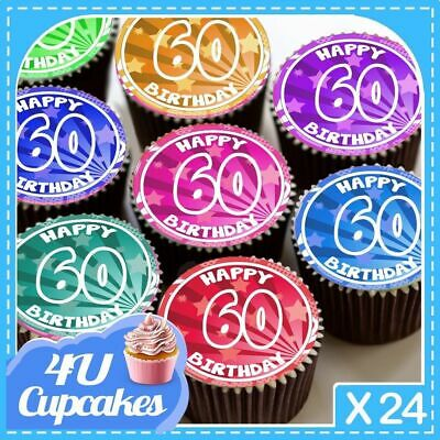 24 X Happy Birthday Colourful 60Th Age 60 Edible Cupcake Toppers Rice Paper C797