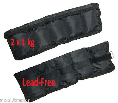 2x 1kg (2kg) LEAD FREE ANKLE WRIST WEIGHTS ADJUSTABLE  FITNESS YOGA TRAINING
