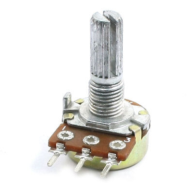 500K ohm Top Adjustment Knurled Shaft 3 Pins Pot Taper Potentiometer
