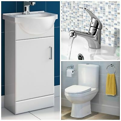 410mm Vanity Basin Sink Unit Set with Toilet & Tap Cloakroom Suite
