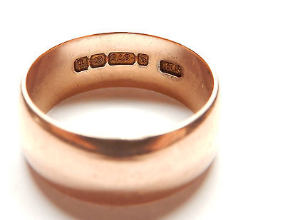 Rose Gold 9ct Wedding ring 1918 Size S1/2 8.3mm