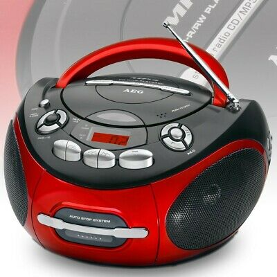 Tragbare Stereo Sound Anlage CD Player AUX Boombox MP3 Musik Kinder AEG SR 4353