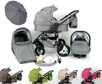 Baby Pram Buggy Pushchair Stroller Allivio Ecco Linen 3in1+Car seat+Umbrella.