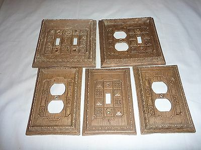 Lot of 5 VIntage Faux Wood Switch Outlet Plates Carved Motif