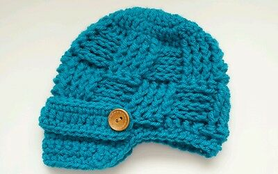NEW Newborn Baby Newsboy Hat Crochet infant photo prop Gift Peacock blue