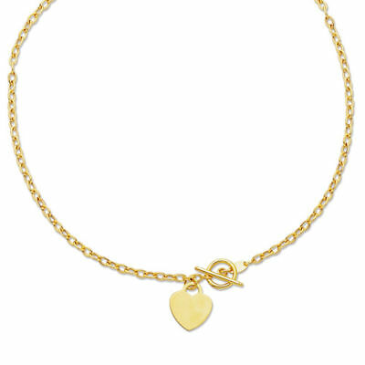 """17"""" Engravable Heart Tag Oval Chain Charm Necklace 14K Yellow Gold Toggle Clasp"""