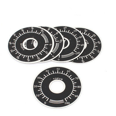 Potentiometer Variable Transformer Round 0-100 Control Dial Face Plate 5pcs