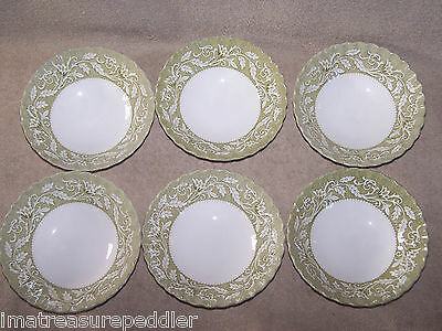 J & G Meakin Lucerne-Green Cereal Bowls Set of 6