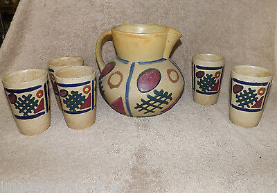 Vintage Erphila Art Pottery Germany Slipware Pitcher & 5 Tumblers