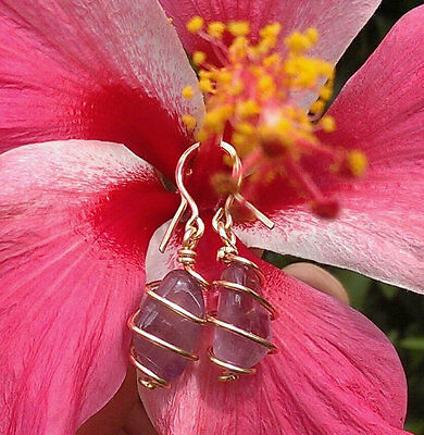 """Auralite 23 """"Violet Vortex"""" Crystal Earrings Hand Wrapped in 14 kt Goldfill Wire"""