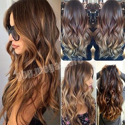 Real Thick Clip In Hair Extensions Curly Wavy Straight Deluxe 3/4 Full Head Hair