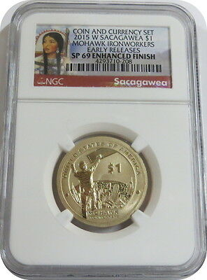 2015 W Sacagawea from Coin and Currency Set NGC Early Release SP69 Enhanced