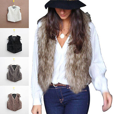 Women Faux Fur Waistcoat Gilet Jacket Coat Sleeveless Outwear Short Fashion Vest