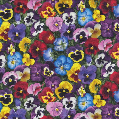 Beautiful Pansy Flowers Pansies Yellow Pink Quilt Fabric FQ or Metre *New*