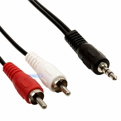 2 metre 3.5mm Stereo Jack to RED & WHITE RCA Phono Cable Audio Aux Music Lead 2m