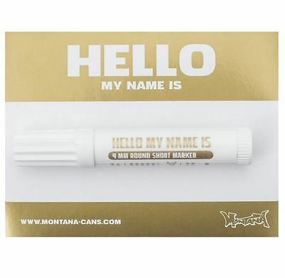 100 X Gold Montana Hello My Name Is Foil Stickers + Black Marker