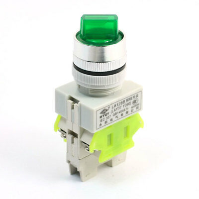 660V 10A DPST 3 Position Control Green Lamp Rotary Selector Latching Switch