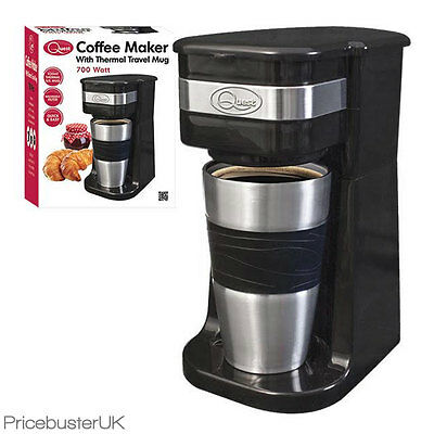 Quest Portable 700W Coffee Maker With 420Ml S/s Thermal Travel Mug Hot Chocolate