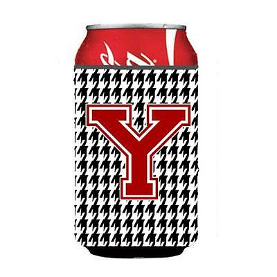 Carolines Treasures CJ1021-YCC Monogram Houndstooth Can Or Bottle Hugger