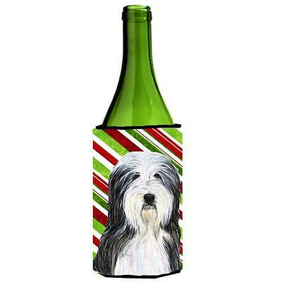 Bearded Collie Candy Cane Holiday Christmas Wine Bottle Hugger 24 oz.