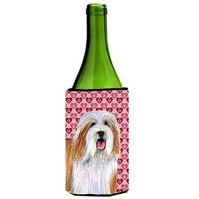 Bearded Collie Hearts Love Valentines Day Portrait Wine Bottle Hugger 24 oz.